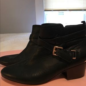 Coach black leather signature booties